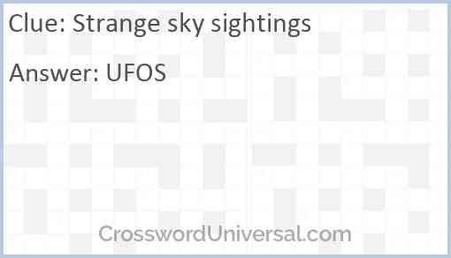 Strange sky sightings Answer