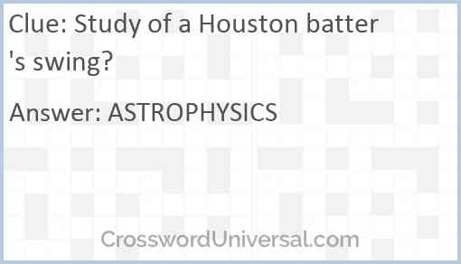 Study of a Houston batter's swing? Answer