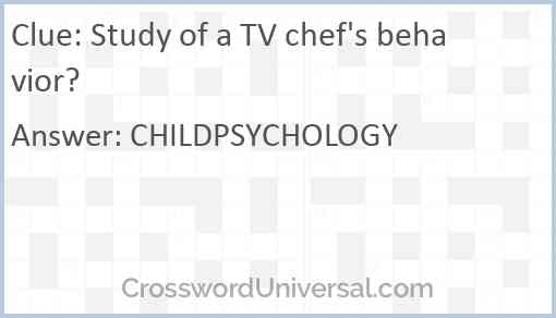 Study of a TV chef's behavior? Answer