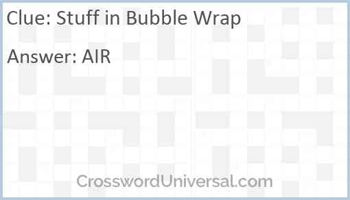 Stuff in Bubble Wrap Answer