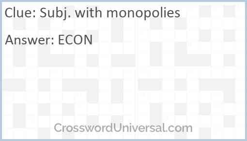 Subj. with monopolies Answer