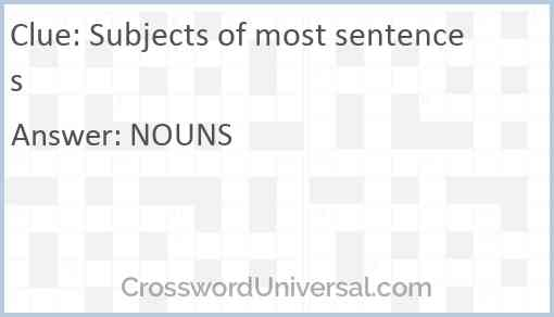 Subjects of most sentences Answer
