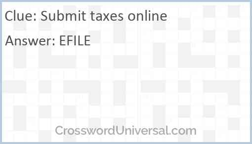 Submit taxes online Answer