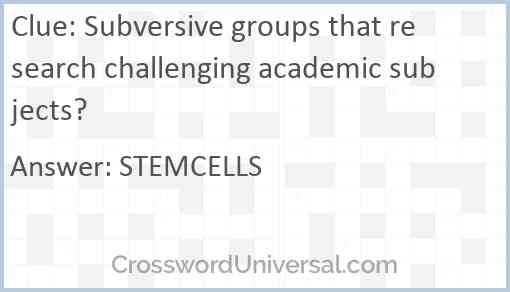 Subversive groups that research challenging academic subjects? Answer