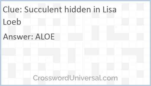 Succulent hidden in Lisa Loeb Answer