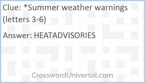 *Summer weather warnings (letters 3-6) Answer