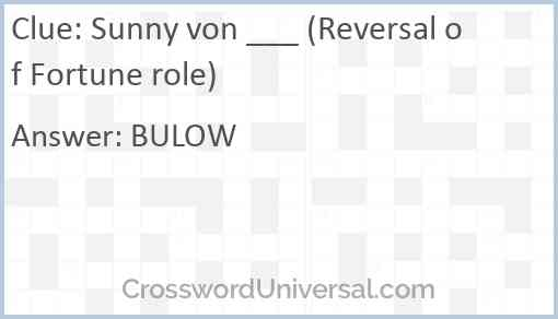 Sunny von ___ (Reversal of Fortune role) Answer