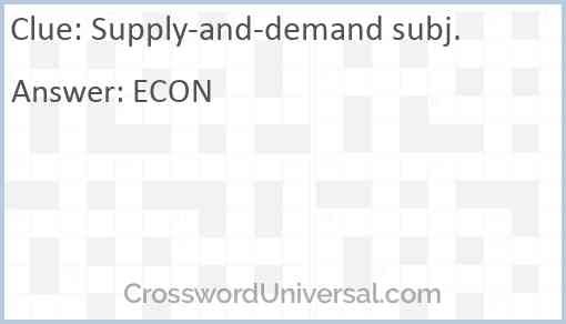 Supply-and-demand subj. Answer