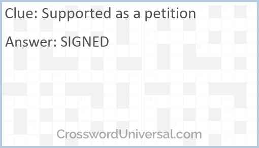 Supported as a petition Answer