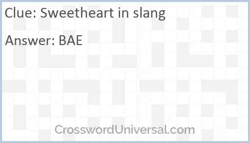 Sweetheart in slang Answer
