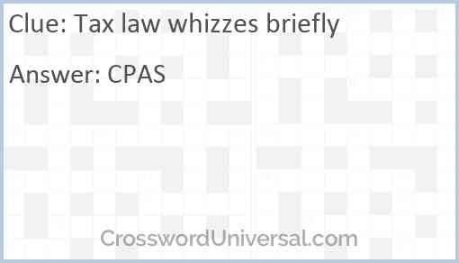 Tax law whizzes briefly Answer