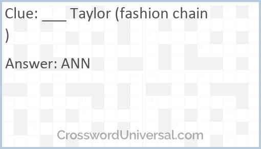 ___ Taylor (fashion chain) Answer