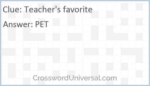 Teacher's favorite Answer