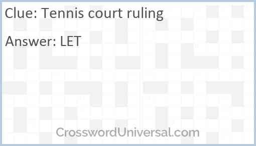 Tennis court ruling Answer
