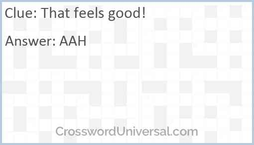 That feels good! Answer