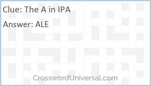 The A in IPA Answer