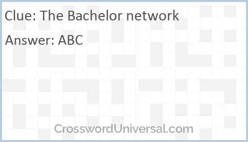 The Bachelor network Answer