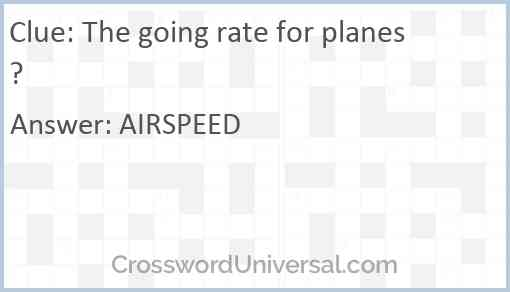 The going rate for planes? Answer