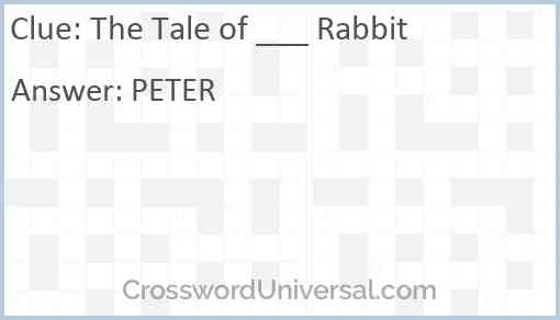 The Tale of ___ Rabbit Answer