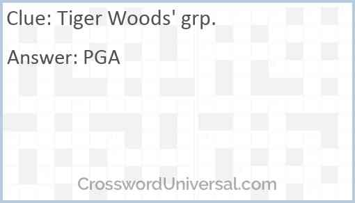 Tiger Woods' grp. Answer