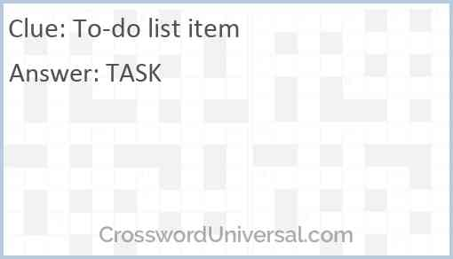 To-do list item Answer