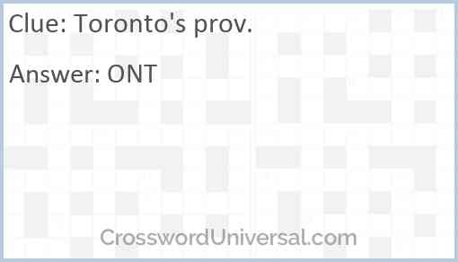 Toronto's prov. Answer