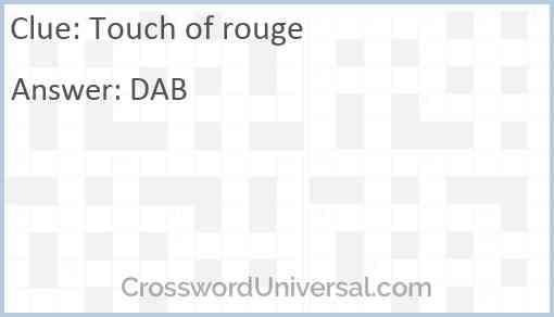 Touch of rouge Answer