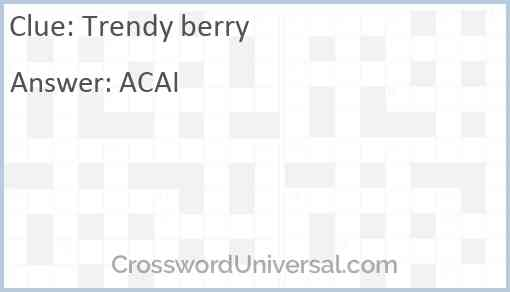 Trendy berry Answer