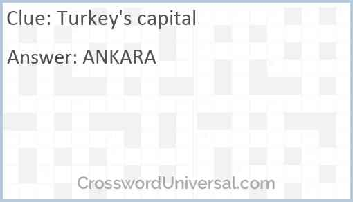 Turkey's capital Answer