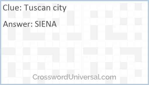 Tuscan city Answer