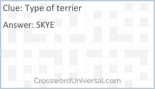 Type of terrier Answer
