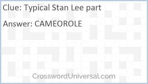 Typical Stan Lee part Answer
