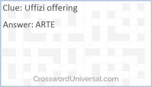 Uffizi offering Answer