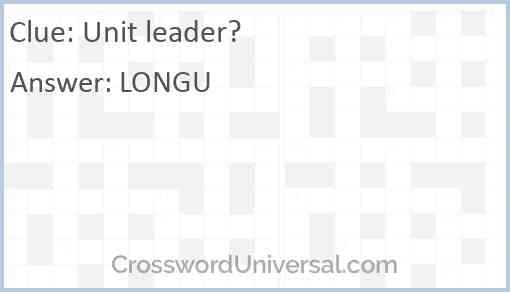 Unit leader? Answer