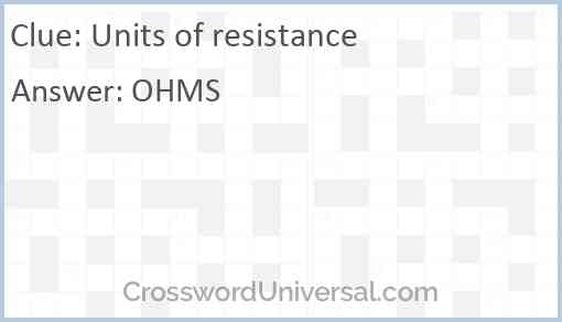 Units of resistance Answer
