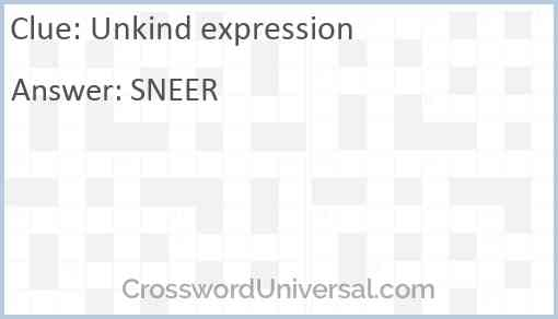 Unkind expression Answer