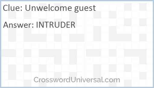 Unwelcome guest Answer