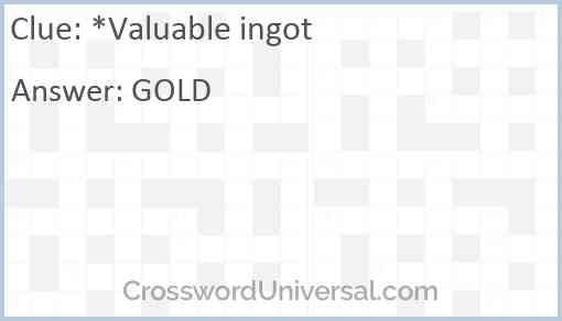 *Valuable ingot Answer