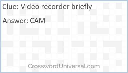 Video recorder briefly Answer