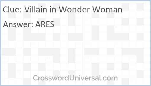 Villain in Wonder Woman Answer