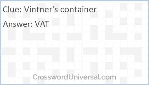 Vintner's container Answer