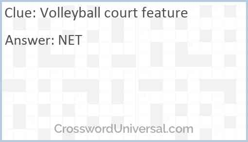 Volleyball court feature Answer