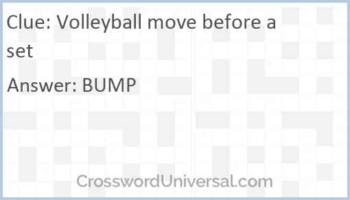 Volleyball move before a set Answer