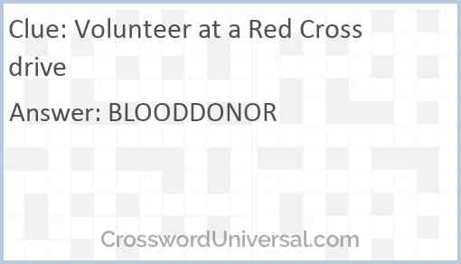 Volunteer at a Red Cross drive Answer