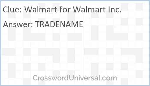 Walmart for Walmart Inc. Answer