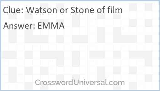 Watson or Stone of film Answer