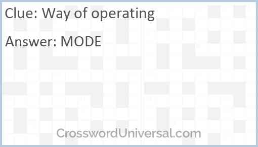 Way of operating Answer