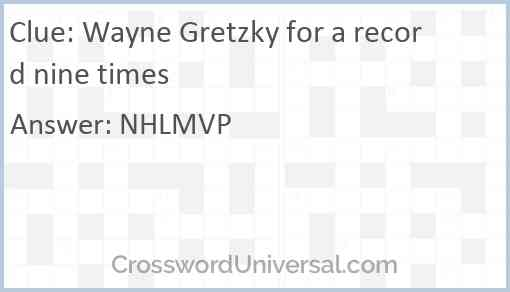 Wayne Gretzky for a record nine times Answer