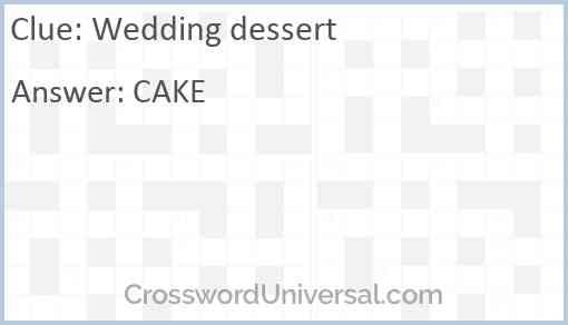 Wedding dessert Answer