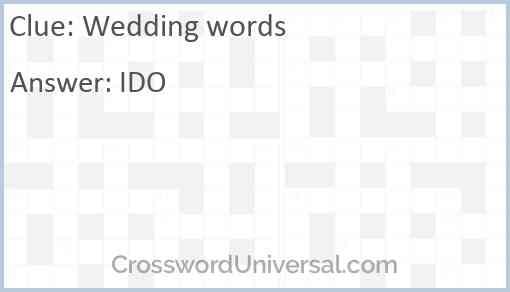 Wedding words Answer